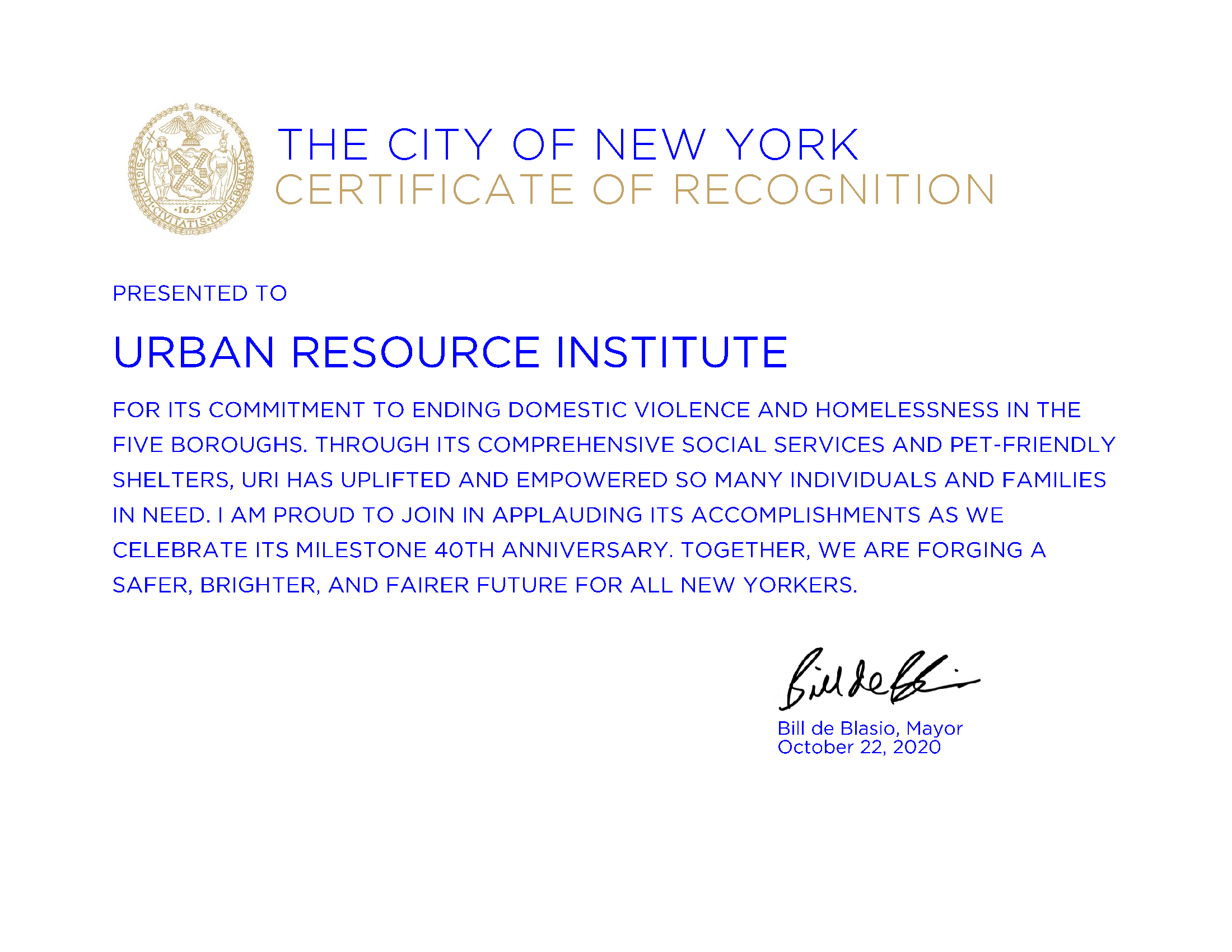 City of New York Certificate of Recognition